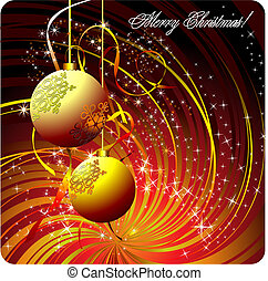Christmas - New Year shine card with golden ball