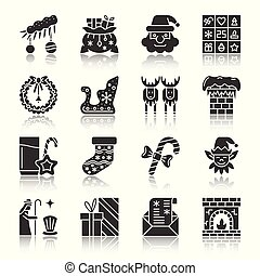 Christmas, New year silhouette icons with reflect