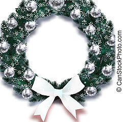 Christmas, New Year. Snowflakes. Dark Green branches of spruce in the form of a Christmas wreath with silver balls and white bows in the snow. illustration