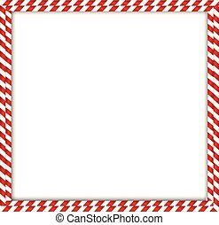 Christmas, new year square double candy cane frame on white background.