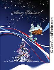 Christmas - New Year tree with Santa image. Vector illustration