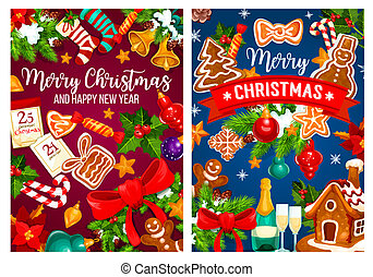 Christmas New Year vector greeting cards