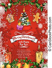 Christmas New Year vector sketch greeting card
