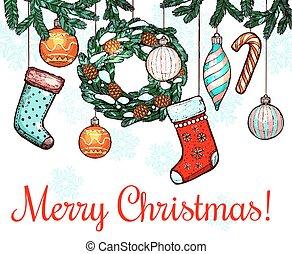 Christmas, New Year winter holidays greeting card