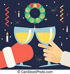 Christmas New Year with Santa Claus Celebration Success and Prosperity Symbol Hands Holds a Glasses Drink Icon on Stylish Fireplace Background Flat Design Vector Illustration