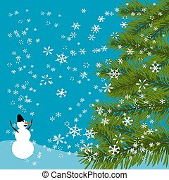 Christmas, New Year's card. Green tree. Cheerful snowman. Celebratory background of falling snow. illustration