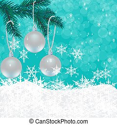 Christmas, New Year's card. Toys on a green Christmas tree. Celebratory background of falling snow. illustration
