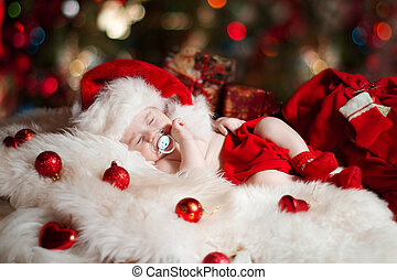 Christmas newborn baby sleeping