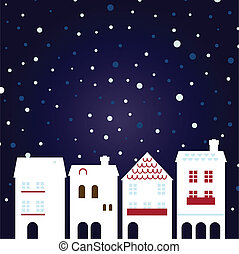 Christmas night city on snowing background