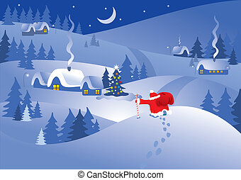 Christmas night in the village. Vector image.