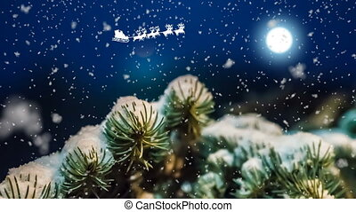 Christmas night, Santa Claus sleighs and deers flying across the sky, New Year's animated card