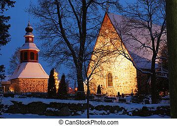 christmas night scenery in Finland, church in snow, xmas...
