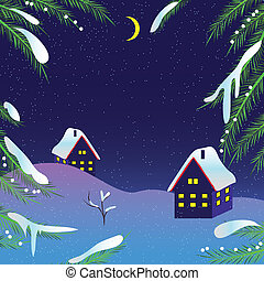 Christmas night vector background