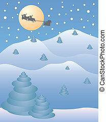 Christmas night with santa and reindeer