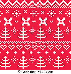Christmas Norwegian seamless knitting pattern ( red & white...