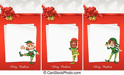 Christmas note template with elf