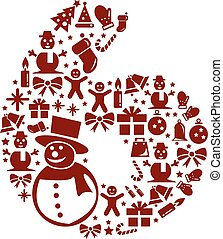 Christmas Number 6 on White Background