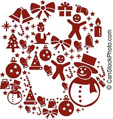 Christmas Number 8 on White Background