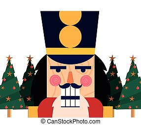 christmas nutcracker face pine trees