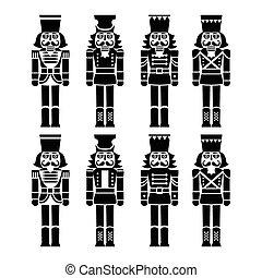 Christmas nutcracker - soldier - Vector icons set of Xmas...