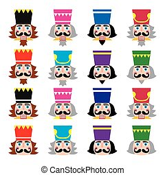 Christmas nutcracker - soldier figu - Vector icons set of...