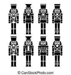 Vector icons set of Xmas nutcrackers statues isolated on white
