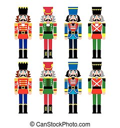 Christmas nutcracker - soldier - Vector icons set of Xmas...