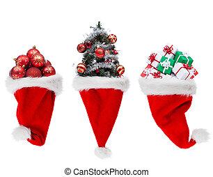 Christmas objects in santa hats