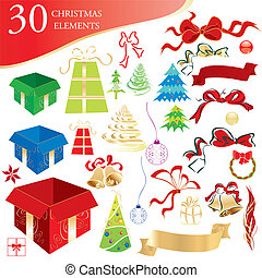 Christmas objects set - Set of 30 Christmas design elements,...