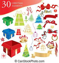 Set of 30 Christmas design elements, vector illustration