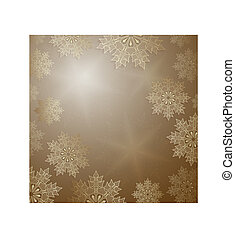 Christmas ocher design with elegant golden snowflakes,