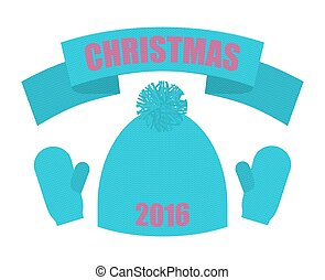 Christmas of 2016. Set of winter clothing. Knitted hat and mittens. Scarf accessory apparel. Warm clothing.