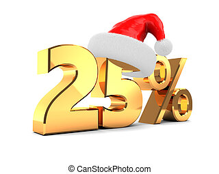 christmas offer - 3d illustration of christmas discount 25 ...