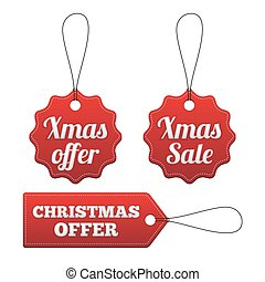 Christmas offer red stitched tags set.