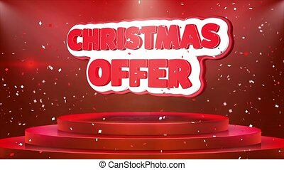 Christmas Offer Text Animation Stage Podium Confetti Loop Animation