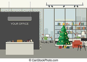 Christmas office illustration in flat style.