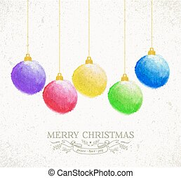 Christmas oil pastel baubles greeting card