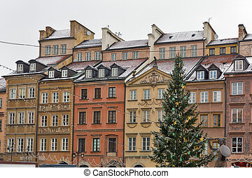 Christmas Old Town market square in Warsaw, Poland. - Winter...