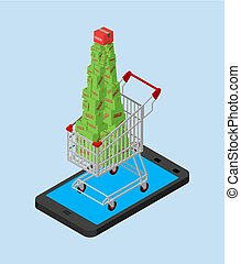 Christmas online sale. shopping cart and smartphone. Buy gifts online. Boxes and phone. Xmas and New Year vector illustration