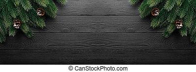 Christmas or fir backgrounds. Wooden background with copy space.