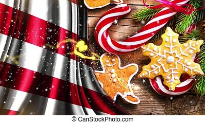 Christmas or New Year background with United States flag HD