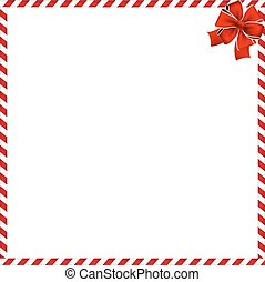 Christmas or new year border with red and white lollipop pattern wrapped with red festive ribbon.