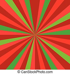 Christmas or new year colored sunburst ray vector pattern with red and green diagonal line, stripes background.