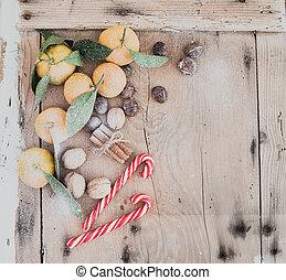 Christmas or New Year frame. Fresh mandarins, cinnamon...