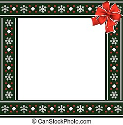 Christmas or new year green border with snowflakes ornament and red ribbon
