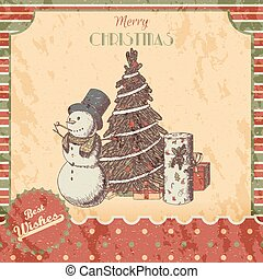 Christmas or New year hand drawn colored vector illustration - card, poster. Snowman in tall hat, xmas tree and gift boxes, vintage sketch style. Red, green classic grunge background.