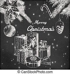 Christmas or New year hand drawn vector illustration. Fir branches with ornaments and gift boxes sketch, vintage style. Grunge blackboard background.