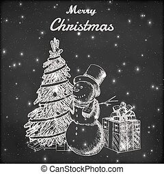Christmas or New year hand drawn vector illustration. Snowman in tall hat, xmas tree and gift box sketch, vintage style. Grunge blackboard background.