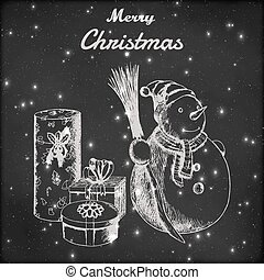 Christmas or New year hand drawn vector illustration. Snowman in winter hat with broom and gift sketch, vintage style. Grunge blackboard background.