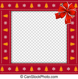 Christmas or new year square border frame with bells and snow flakes ornament and red ribbon